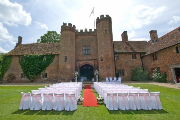 Outside ceremony in Pink at Leez Priory