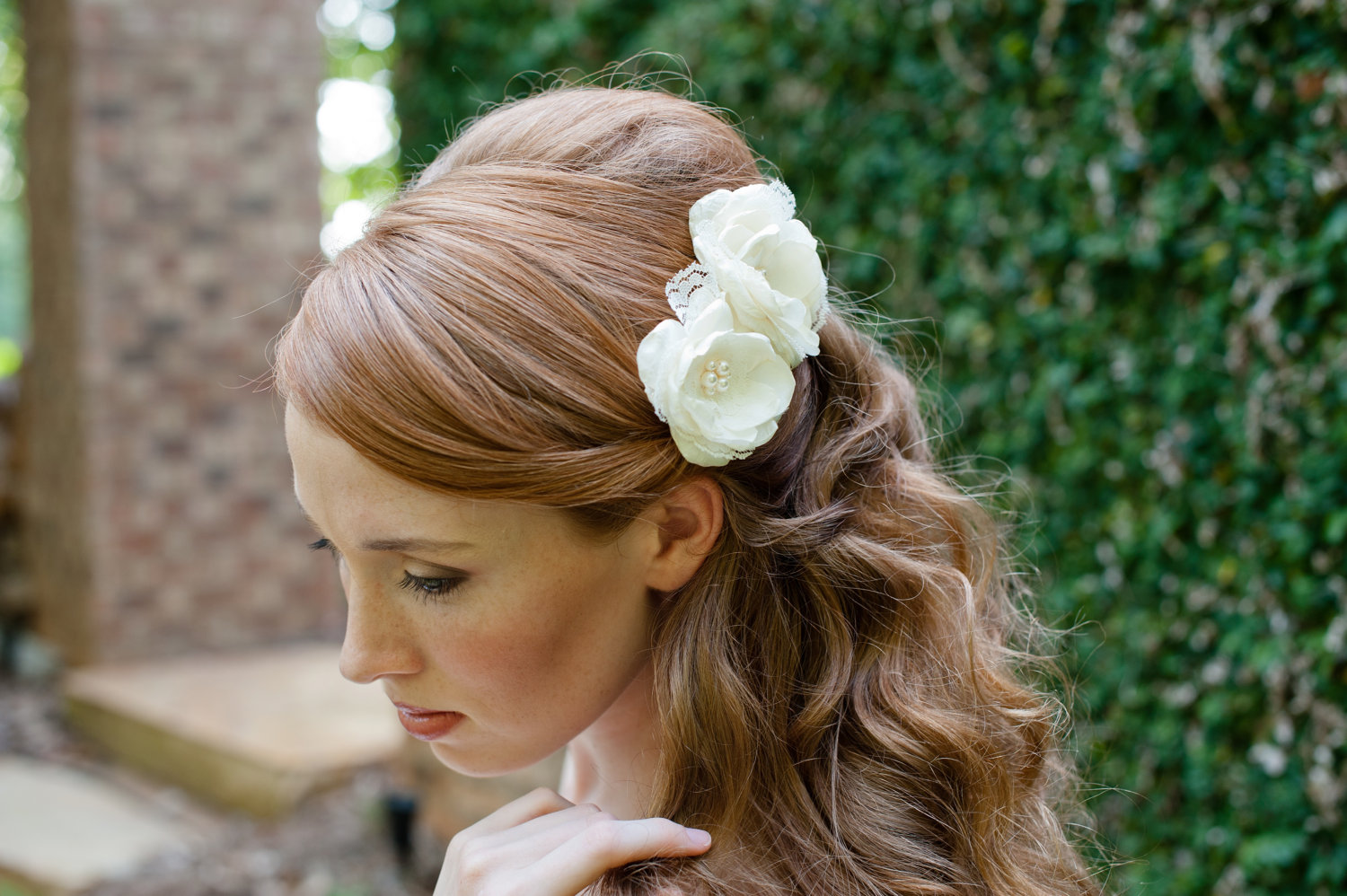 Bridal Hair Down With Flowers : Bridal hair accessories