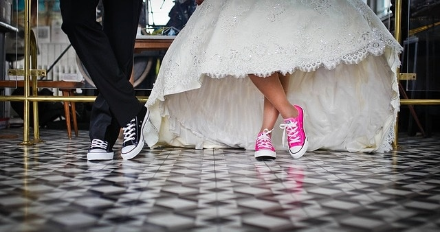 Bride and grooms' feet