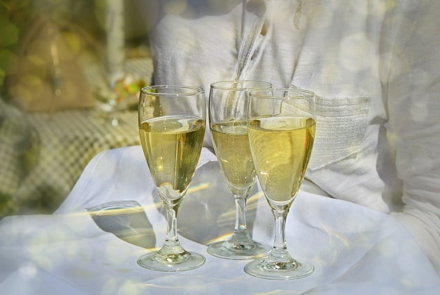 Champagne being served