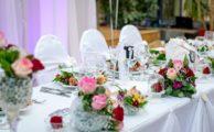 A wedding dinner table