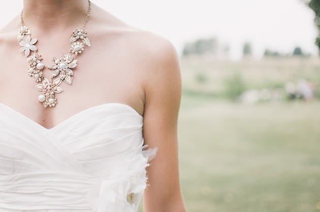 Wedding dress and pretty necklace