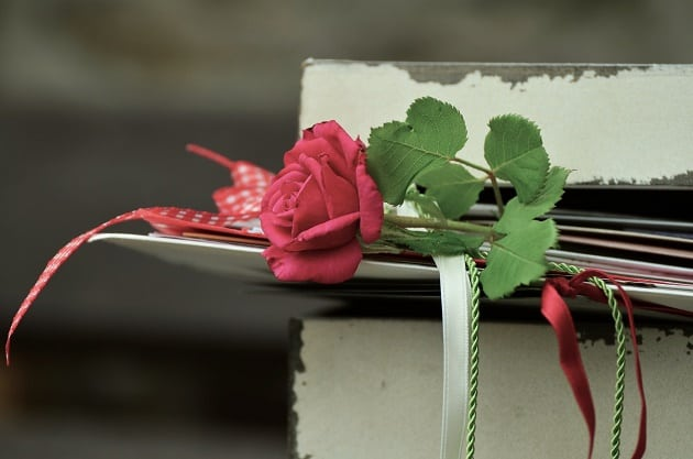 Love letters with a rose