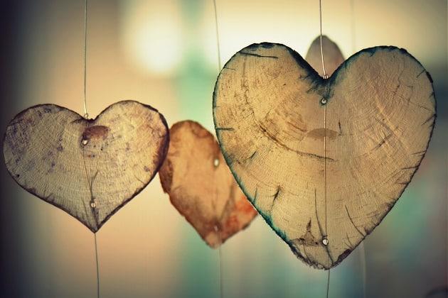 Romantic hearts hanging