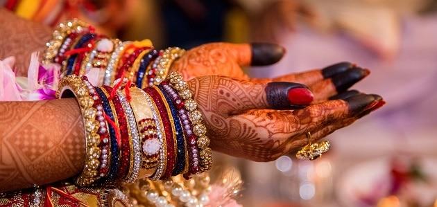 Indian wedding bride's painted hands