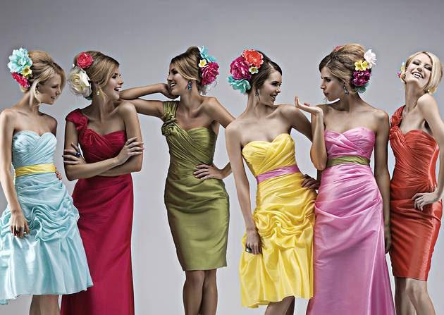 Bridesmaids dresses multicoloured