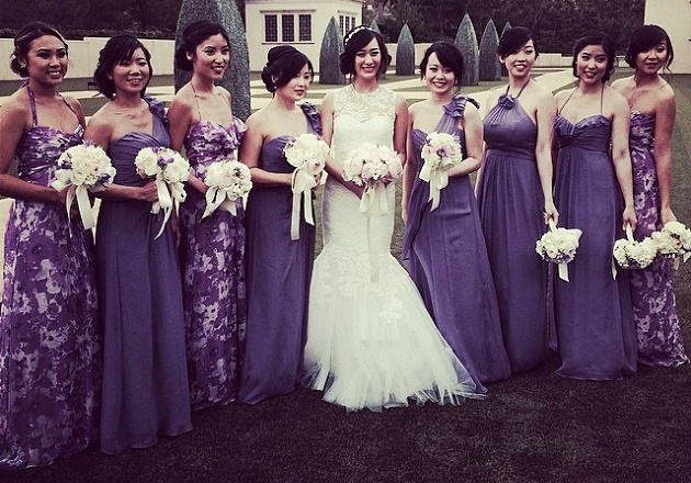 Bridesmaids in print and block colours