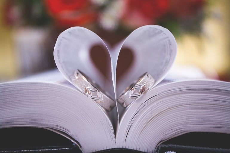 wedding rings in a book